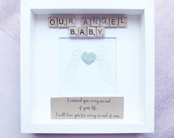 Angel Baby / Rainbow Baby / Baby Memorial Frame / Miscarriage Keepsake / Memorial Frame / Bereavement Gift / Sympathy Gift / Infant Loss