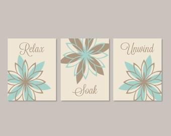 Aqua BATHROOM Decor, Bathroom Wall Decor, Relax Soak Unwind, Floral Bathroom, Bathroom Pictures, Flower Prints Or Canvas, Set of 3