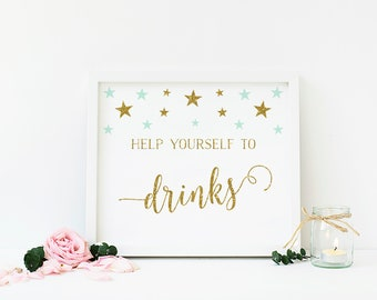 Mint and Gold Decoration, Drink Sign, Bar Sign, Baby Shower, Twinkle Star, Mint Green Party Decoration, Printable, Instant Download - SG5