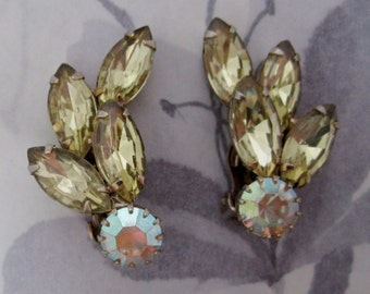 vintage prong set rhinestone Jonquil and AB crystal clip on earrings - j5623