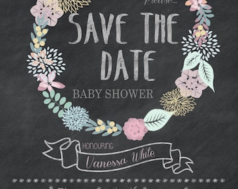 Printable Floral 'Save The Date' Baby Shower 5x7 Invitation - Print at home DIY