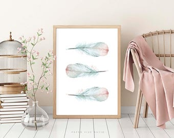 Pink Blue Teal Green Watercolor Feathers, Boho Wall Art, 3 Feathers Art, Watercolour Painting, Living Room Bedroom Wall Art, Large Poster