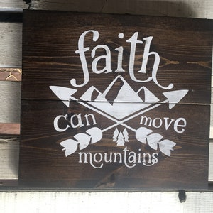 FAITH CAN MOVE Mountains   Farmhouse Decor   Rustic Wall Decor   Christian Home  Decor
