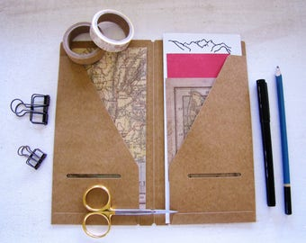 Genuine Traveler's Notebook Insert- (020) Kraft Paper Folder-Midori- Regular Size, Travel Journal, Travelers Company
