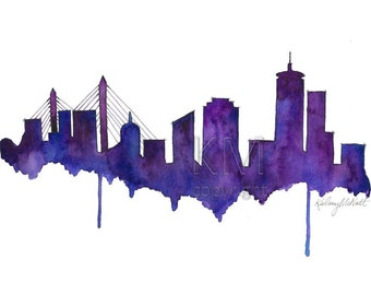 Watercolor Painting Boston Skyline Print Wall Art Abstract Painting Minimalist Painting Large Wall Art Housewarming Gift Office Decor Purple