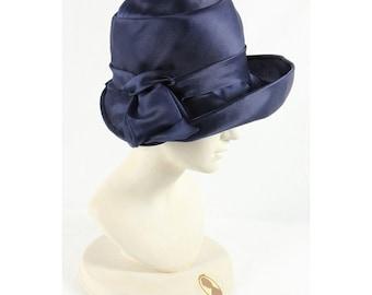 1960s Vintage blue satin hat