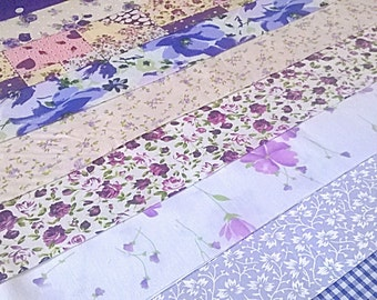 10 x Lusicious Lilac Fabric Jelly Roll Strips Polycotton Patchwork Quilting