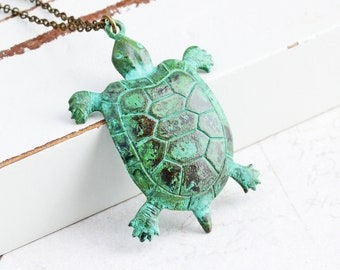 Green Turtle Necklace, Hand Aged Brass Patina Pendant, Animal Lover Gift, Nature Jewelry
