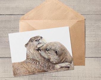 Otters Blank Animal Artist Card