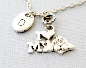 Personalized initial I love my dog necklace- Hand stamped puppy necklace for dog lover gift-Initial pet jewelry gift for her-Pet memorial