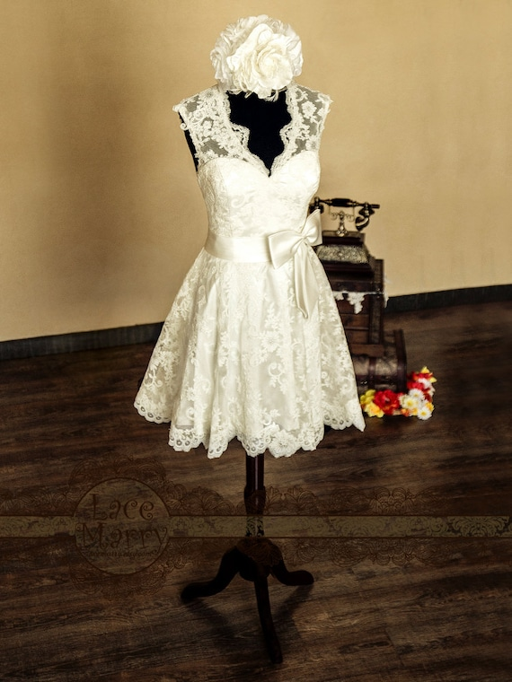 Knee Length Lace Wedding Dress Short Dresses Tea A Line 50s Style