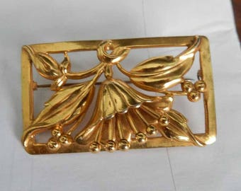 1940s Coro  Craft Sterling Vermeil Brooch