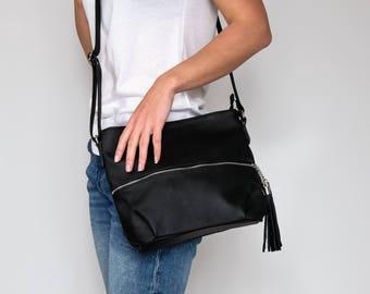 CROSSBODY FRINGE BAG, Leather Tassels Black Crossbody Leather Bag Leather Purse Crossbody Leather Shoulder Bag Everyday Bag Gift for Her