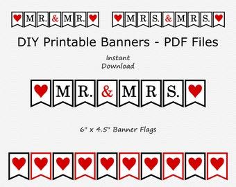 Mr. & Mrs. Banner - Black and Dark Red - Heart - Mr. Mr. - Mrs. Mrs. - PRINTABLE - INSTANT DOWNLOAD