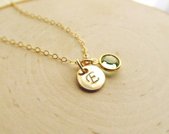 New Mom Gift, Initial with Birthstone Necklace, 14kt Gold Filled Necklace, Personalized Birthstone Necklace, New Baby Necklace, Push Present