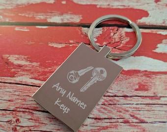 Engraved Keyring - Key Chain - Key Ring - Personalised Gift - House Keys - Add Name - Custom Engraving Back
