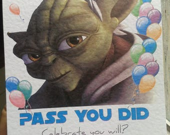 Handmade Star Wars Yoda Congratulations Exams Driving Test Passed Card - STYLE 1