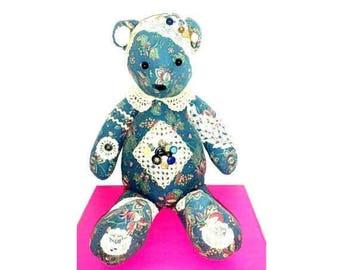 Vintage Shabby Chic Hand Crafted Teddy Bear, Cloth Teddy Bear, Rag Doll Bear, Crochet, Buttons, Doilies, Lace,Handmade Teddy Bear,Victorian