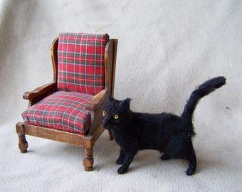 Ooak Miniature Dollhouse Black Cat by Malga