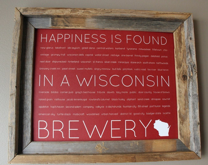 Happiness Is Found In A Wisconsin Brewery Word Art Print (Red) - Unframed