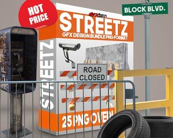SALE* Streetz  GFX Design Bundle PNG Format - No Background Images