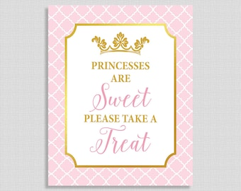 Princesses Are Sweet Please Take a Treat Sign, Pink and Gold Princess Baby Shower Favor Sign, INSTANT PRINTABLE