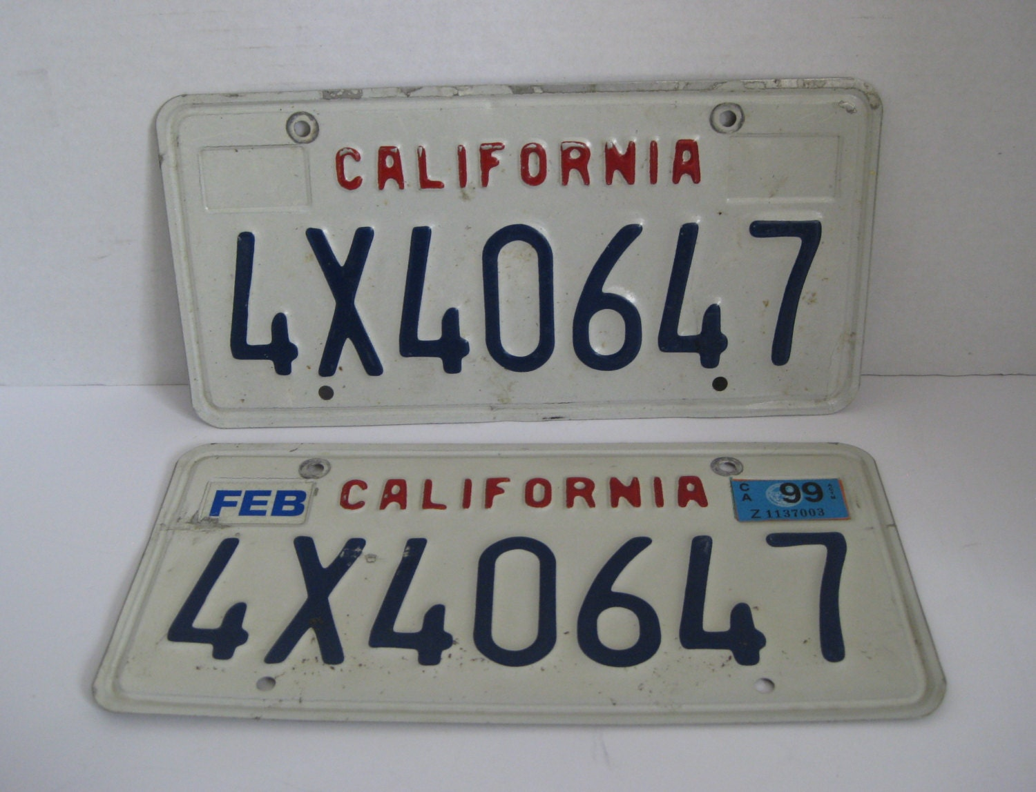 Vintage California License Plates Pair Blue Red White from ...