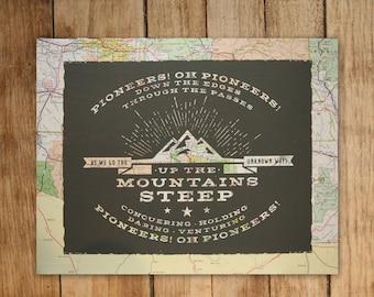 Pioneers! Oh, Pioneers! - Screenprint on Vintage Map