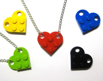 Original Single Chain Heart Necklace - Made of LEGO® Bricks - With Gift Pouch