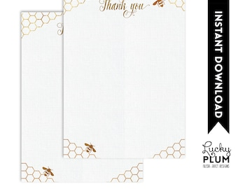 Bee Thank You Card / Sunflower Thank You Card / Flower Thank You Card / Spring Thank You Card / Gold Geometric Thank You Card BE01