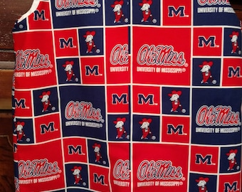 Ole Miss ready!!  This Jon Jon is Ole Miss fabric, lined with covered buttons and snaps in the crotch for easy access.