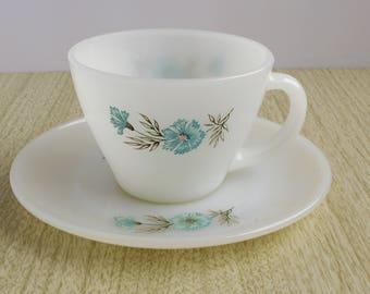Fire King Bonnie Blue Teacup And Saucer  - Milk Glass Teacup - Fire King Anchor Hocking Teacup And Saucer - Bonnie Blue Boutonniere Teacup