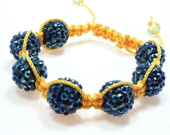 Disco Bead Macrame Bracelet, Blue and Gold, Basketball Wives Beads, Pave Beads, Crystal Ball Beads