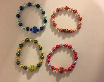 Beaded stretch stack bracelets