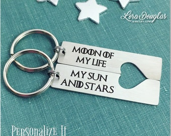 Moon of My Life, My Sun and Stars, Game of Thrones, Game of Thrones Keychain, Heart Cutout Keychain Set, His & Hers keychains