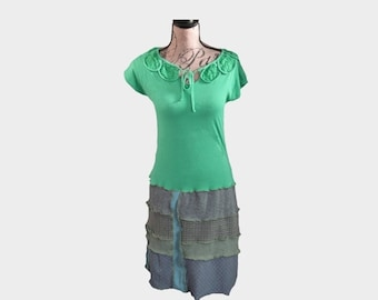 Summer Emerald color Recycled Dress Size Small Women's Eco Friendly Cotton