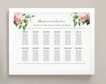 INSTANT DOWNLOAD | Printable Seating Chart Poster Template | Vintage Botanical | Word or Pages | 18x24