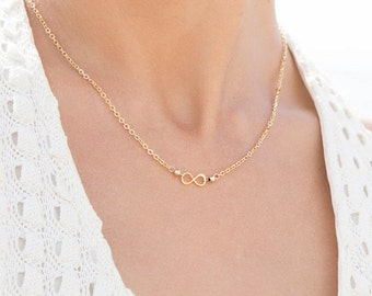 infinity necklace, dainty 16 inch necklace, eternity necklace, bridesmaid gifts, gift for mom, gift for her (available in GOLD and SILVER)