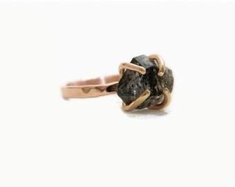 Rose Gold Engagement Ring, Diamond Engagement Ring, Anniversary Ring, Herkimer Ring, Diamond Ring, 14K Rose Gold Ring, Black Diamond Ring