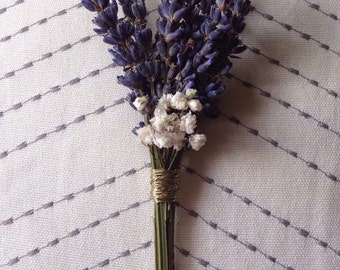 Dried Lavender and Baby's Breath Boutonniere