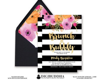 BRUNCH and BUBBLY Floral Bridal Shower Invitation Black & White Stripe Watercolor Floral Flower Card Invite Printed or Printable File - Mady