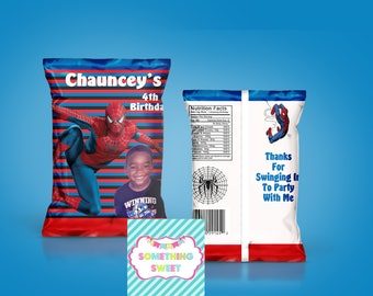 PRINTED Spiderman Themed Chip Bag Treat Bag  - YOU ASSEMBLE(Read before ordering)