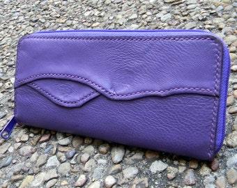 Purple long zippered wallet
