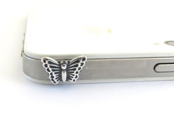 Butterfly iPhone and CellPhone Dust Plug Sterling Silver Ox or Antiqued Brass Ox Finish