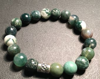 Mens Green Agate Bracelet