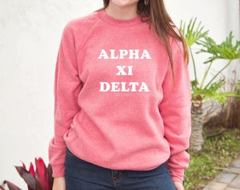 Alpha Xi Delta Crew Fleece, Triblend Sweatshirt, Basic Fleece, Greek Letters