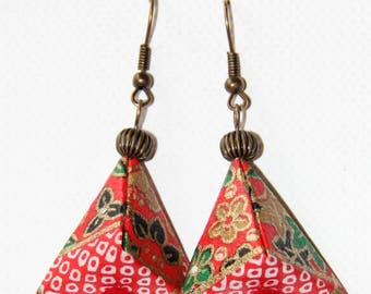 origami Japanese paper pyramid earrings