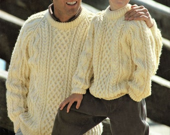 Father And Son Traditional Raglan Sleeve Aran Sweaters, Jumpers. Vintage Knitting Pattern. PDF, Digital Download