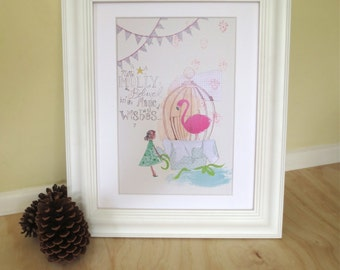 Flamingo in a birdcage art print, birthday wishes, girl and pink flamingo