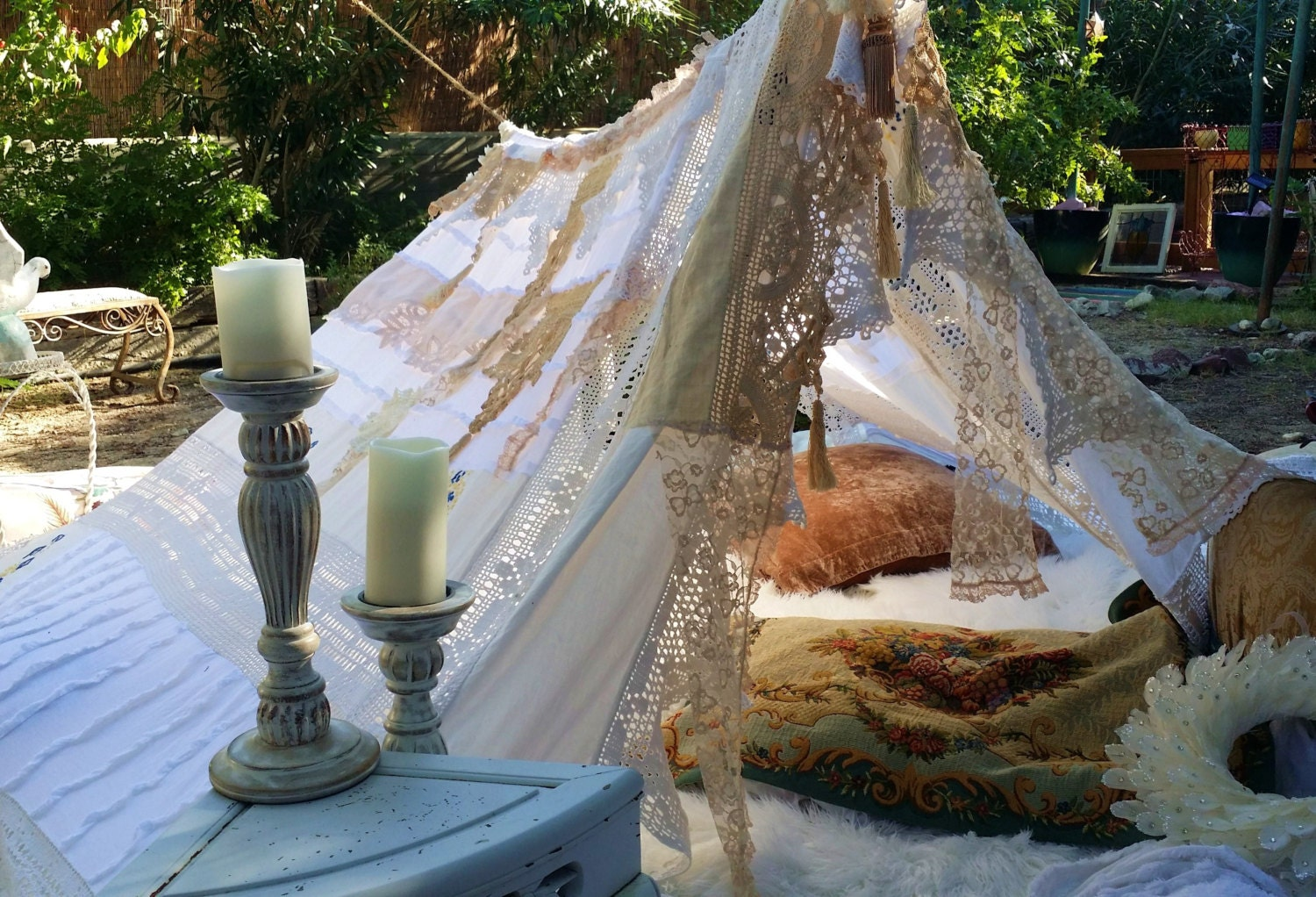 ?zoom & Vintage Wedding Tent teepee Hippie Decor MADE TO ORDER Antique